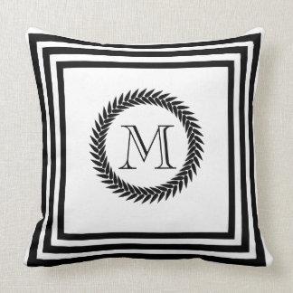 Black and White Resort Spa Style Monogram Throw Pillow