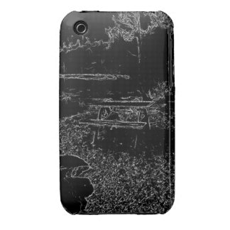 black and white resting place drawing iPhone 3 cover