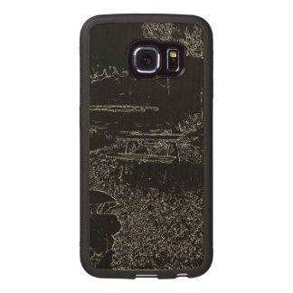 black and white resting place drawing wood phone case