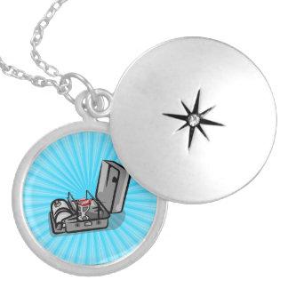 Black and White Retro Camp Stove Locket Necklace
