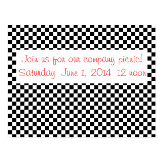 Black and White Retro Checkerboard Company Picnic Postcard