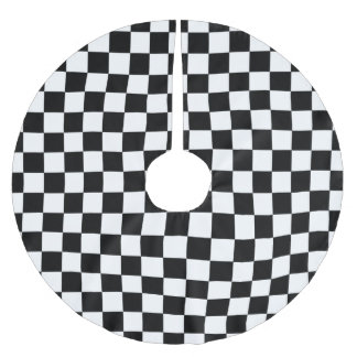 Black And White Retro Checkered Pattern Brushed Polyester Tree Skirt