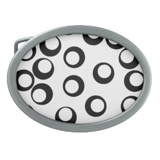 Black and White Retro Circles Pattern. Oval Belt Buckles