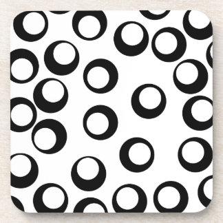 Black and White Retro Circles Pattern. Beverage Coaster