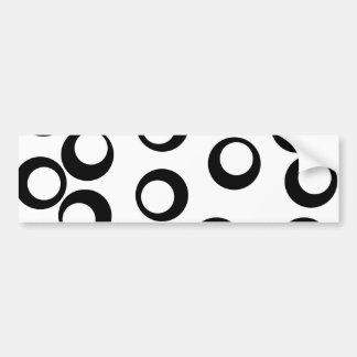 Black and White Retro Circles Pattern. Car Bumper Sticker