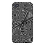 Black and White Retro Circles Pattern iPhone 4/4S Cases