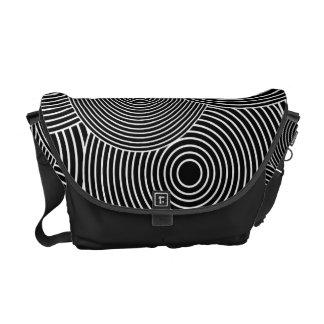 Black and White Retro Circles Pattern Messenger Bag