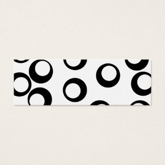 Black and White Retro Circles Pattern. Mini Business Card