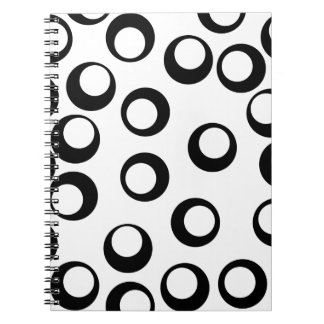 Black and White Retro Circles Pattern. Notebook