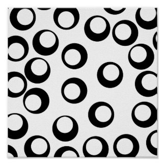Black and White Retro Circles Pattern. Poster