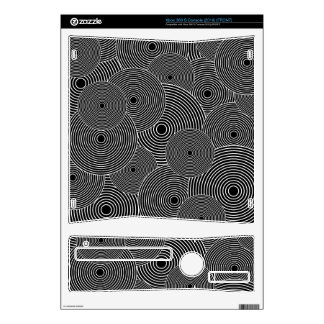 Black and White Retro Circles Pattern Skin For Xbox 360 S