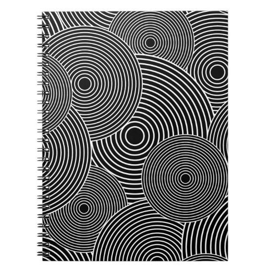 Black and White Retro Circles Pattern Spiral Notebook