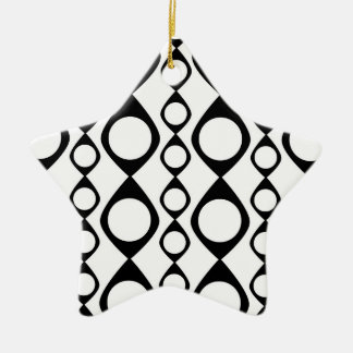 Black and White Retro Circles, Rings Double-Sided Star Ceramic Christmas Ornament