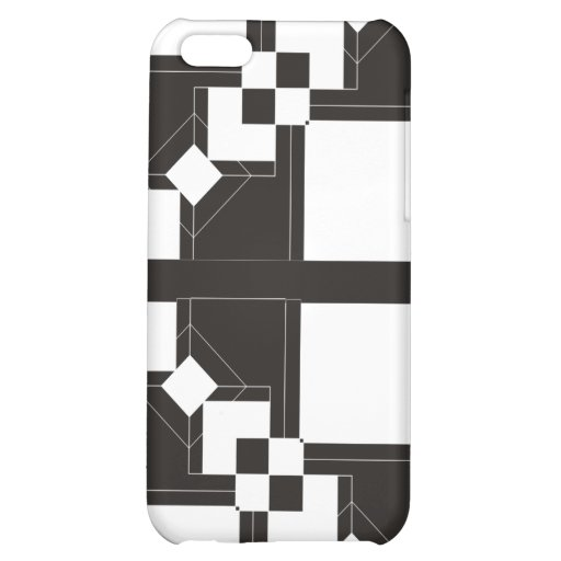 Black and white retro design with initials cover for iPhone 5C