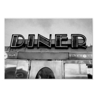 Black And White Retro Diner Photograph Poster