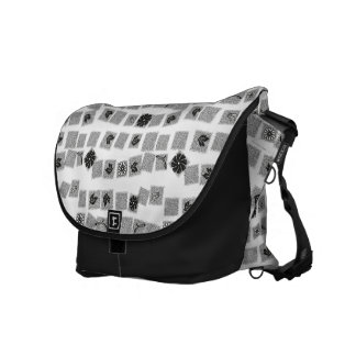 Black and White Retro Flowers Courier Bag