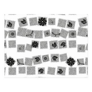 Black and White Retro Flowers Postcard