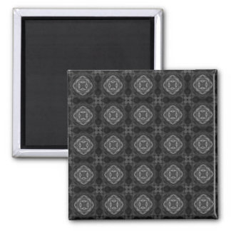 Black and White Retro Fractal Pattern 2 Inch Square Magnet