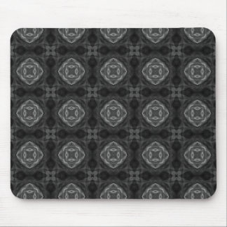 Black and White Retro Fractal Pattern Mouse Pad