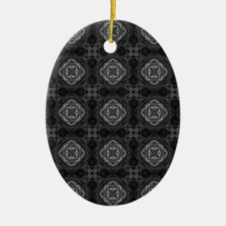 Black and White Retro Fractal Pattern Ornaments