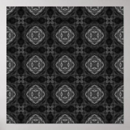 Black and White Retro Fractal Pattern Poster