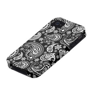 Black And White Retro Paisley Ham Pattern Case-Mate iPhone 4 Cover