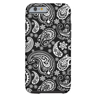 Black And White Retro Paisley Ham Pattern iPhone 6 Case