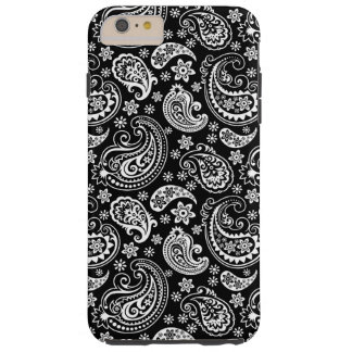Black And White Retro Paisley Ham Pattern Tough iPhone 6 Plus Case
