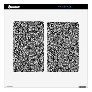 Black And White Retro Paisley Pattern Kindle Fire Decal