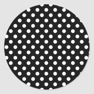 Black and White Retro Polka Dots Pattern Card Seal Classic Round Sticker
