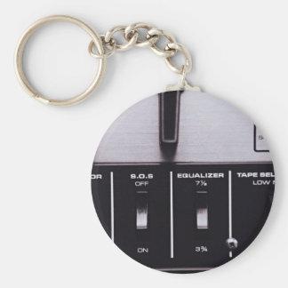 Black and white retro radio equalizer basic round button keychain