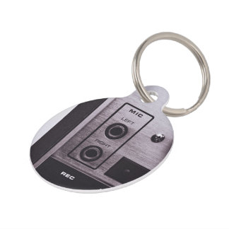 Black and white retro radio recorder pet ID tags