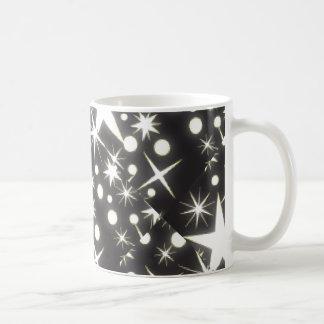 Black and White Retro Stars Print Coffee Cup Coffee Mugs