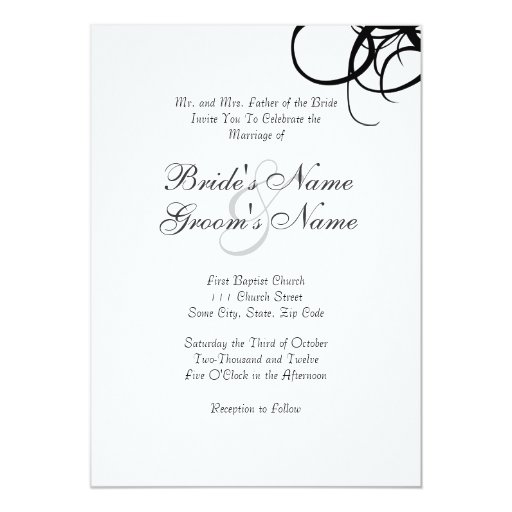 Black And White Retro Wedding Invitation