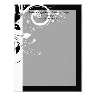 Black and White Reverse Swirl Letterhead