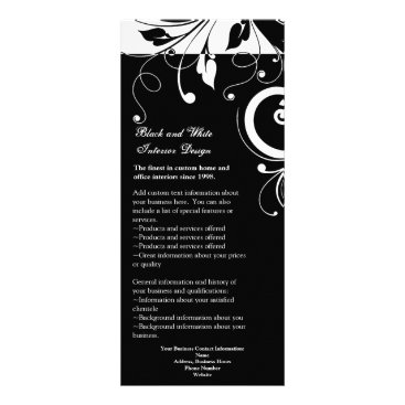 Black and White Reverse Swirl RackCard Ad or Menu