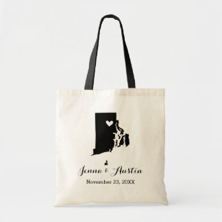 Black and White Rhode Island Wedding Welcome Tote Budget Tote Bag