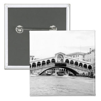 Black and White Rialto Bridge, Venice. 2 Inch Square Button