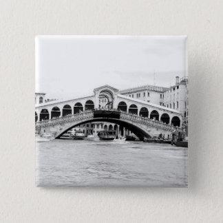 Black and White Rialto Bridge, Venice. Button