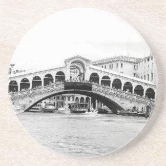 Black and White Rialto Bridge Venice Beverage Coasters