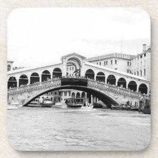 Black and White Rialto Bridge Venice Coasters