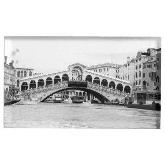 Black and White Rialto Bridge, Venice. Place Card Holder