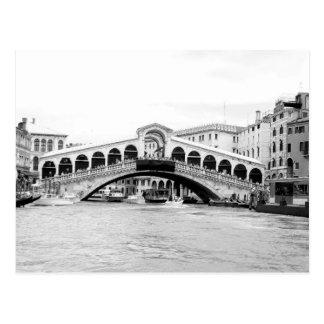 Black and White Rialto Bridge Venice Post Card
