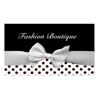 Black and white ribbon and polka dots business card templates