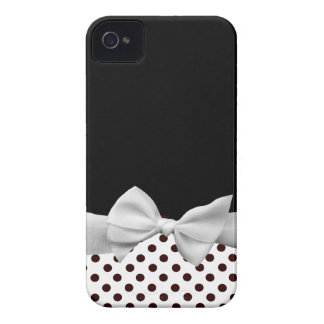 Black and white ribbon and polka dots iPhone 4 Case-Mate case