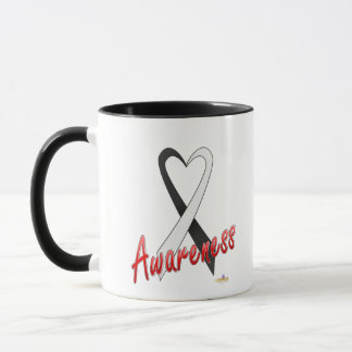Black And White Ribbon Awareness Design Mug