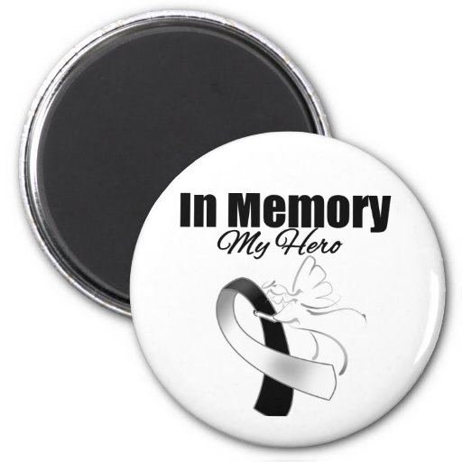 Black and White Ribbon In Memory of My Hero Magnets