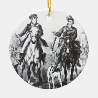 Black And White Riders On Horses Christmas Ornament