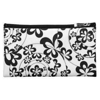Black and White Rings and Flowers Makeup Bag