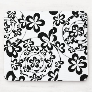 Black and White Rings and Flowers Mouse Pad